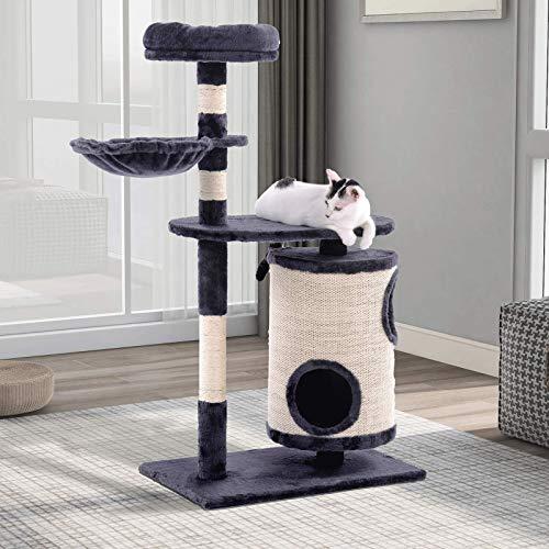 Árbol para Gatos árbol rascador para gatos Árbol Para Gatos Torre Pequeña Estable Para Gatos Con Casa Cilíndrica Para Gatos Condominios Para Gatos Juguetes Colgantes Gimnasio Para Gatos Casa De Juegos