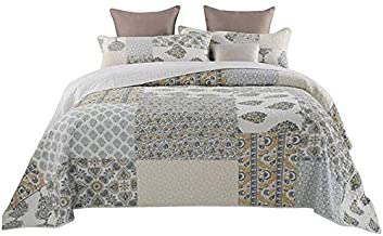 3-Piece Patchwork Bedspread Quilted Double Coverlets 100% Cotton Super Soft Pastoral Chic Floral Quilt Throw Bed Cover Bed...