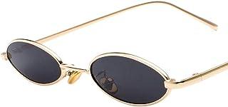 レトロなサングラス ドロップ形楕円フラット レンズ メタル フレーム サングラス UV400