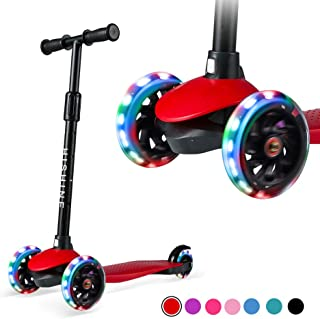 Kids Kick Scooters for Toddlers Boys Girls Ages 2-5 Years Old, Adjustable Height, Extra Wide Deck, Light Up Wheels, Easy t...