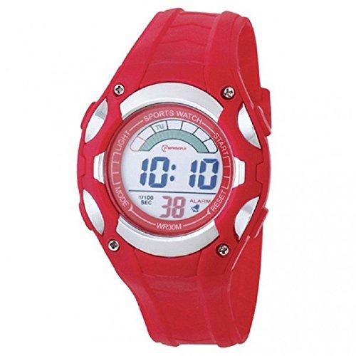 Montre Concept - Orologi Digitali uomo Mingrui - Cinturino Plastica Rosso - Quadrante Tondo Fondo Rosso