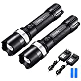 Miady LED Rechargeable Flashlights [2 PACK] - CREE LED, Zoomable, IPX4 Water Resistant, 3 Light Modes, Handheld Light, 18650 Battery and Charger Included - Camping, Emergency, Everyday Flashlight