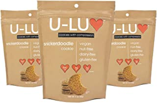 U-LUV Foods, Snicker-Doodle Cookies, Low Sugar, Low Fat and Low Calorie Gluten Free, NON-GMO, Vegan, Dairy Free, Nut-Free, Soy-Free No Artificial Ingredients, 4 oz (Pack of 3)