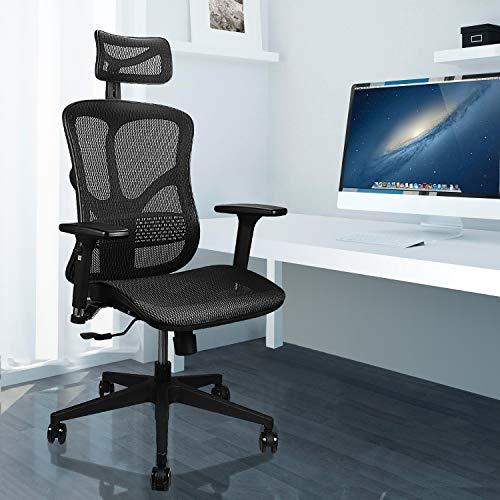 Argomax Ergonomic Mesh Office Chair High Back with Adjustable Headrest/Tilt Back/Tension/Lumbar Support/3D Armrest/Seat High End Argomax Computer Desk Chair 360 Swivel Self (Classic) (Black)