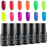 Inagla Esmaltes de Uñas en Gel UV LED, 12 Colores de Neon Esmaltes Semipermanentes, Pintauñas de 8ml 005