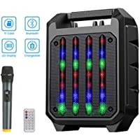 NASUM PA System Karaoke Machine, Portable Speaker System with Wireless Microphone, LED Light, and Remote Control, Bluetooth Karaoke System