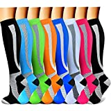 QUXIANG Copper Compression Socks Women & Men Circulation (8 Pairs) 15-20 mmHg Knee High is Best for...