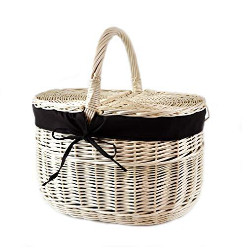MyBer® Korb Picknickkorb Tragekorb Einkaufskorb mit 2 Deckeln Weidenkorb Vollweide geflochten weiß K12-027-W-SS