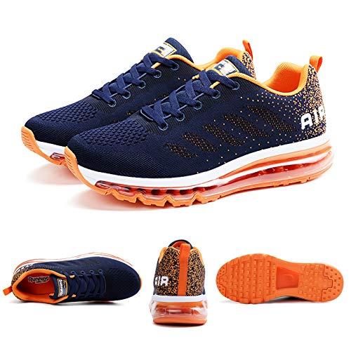 Smarten Zapatillas de Running Hombre Mujer Air Correr Deportes Calzado Verano Comodos Zapatillas Sport Blue Orange 40 EU