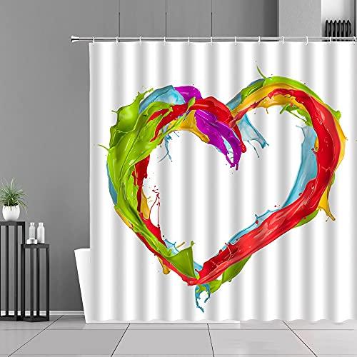 XCBN Cortina de Ducha de Color de Agua con Forma de corazón Creativo, Pintura Colorida, patrón Abstracto, decoración de baño, Pantalla, Cortinas Impermeables A1 180x200cm
