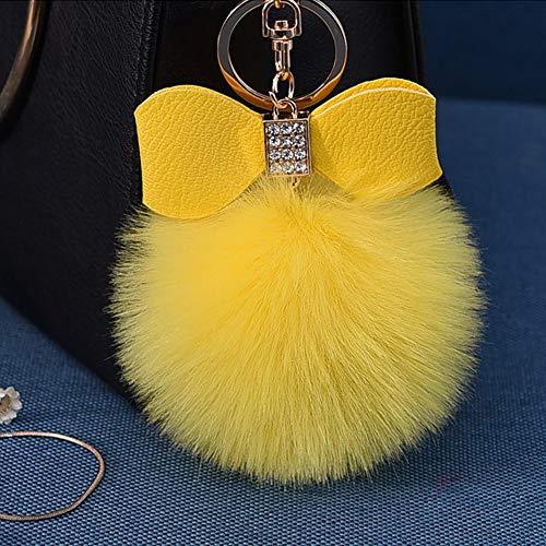 Fluffy Ball Key Chain 8-10cm Cute Keychain Bag Charm Ball Fur Key Chain for Car Key Ring (Yellow)