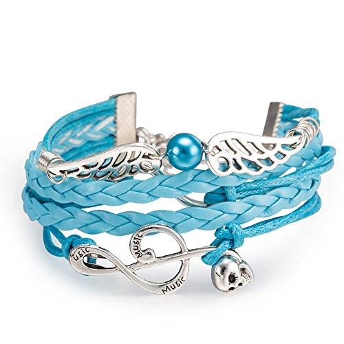 iSchmuck Pulsera de la amistad, aleación, cuerda, plata, azul, clave de sol, música, nota musical, alas de ángel, perla, amor, infinito, colgante vintage para mujer