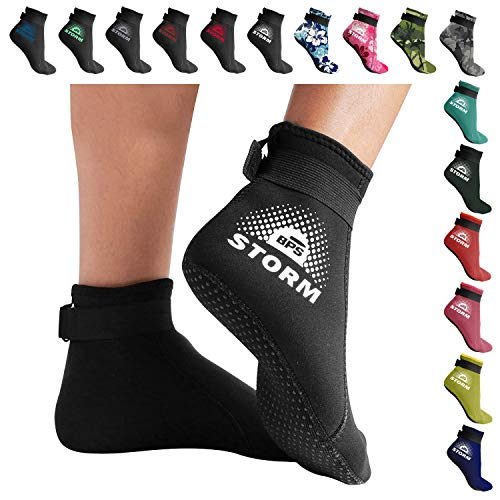 BPS 'Storm Sock' Neoprene Wetsuit Socks - with Anti-Slip Sole - Unisex Socks for Snorkeling, Beach Volleyball, Surfing, Scuba Diving, Fin Socks - Low Cut (Black/White Accent, L)