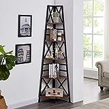 Hombazaar 5-Tier Industrial Corner Bookshelf, Vintage Wood Look Accent with Metal Frame Etagere Bookcase, Freestanding Tall Ladder Shelf Display Organizer Home Office, Rustic Brown Finish
