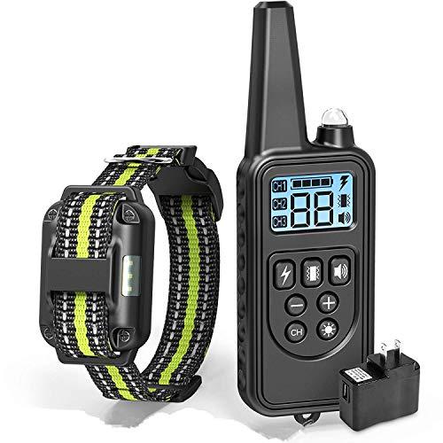 Dog Training Collar, 2600ft Range Dog Shock Collar Waterproof Shock Collar with 4 Training Modes Light Beep Vibration Shock