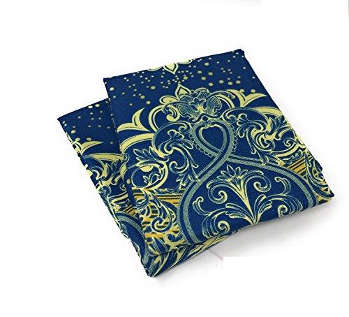 Tache Navy Blue Yellow/Gold Damask Pillowcase - Star Gazing - Microfiber Fancy Decorative 20x30 Standard Pillow Covers - 2 Piece Set