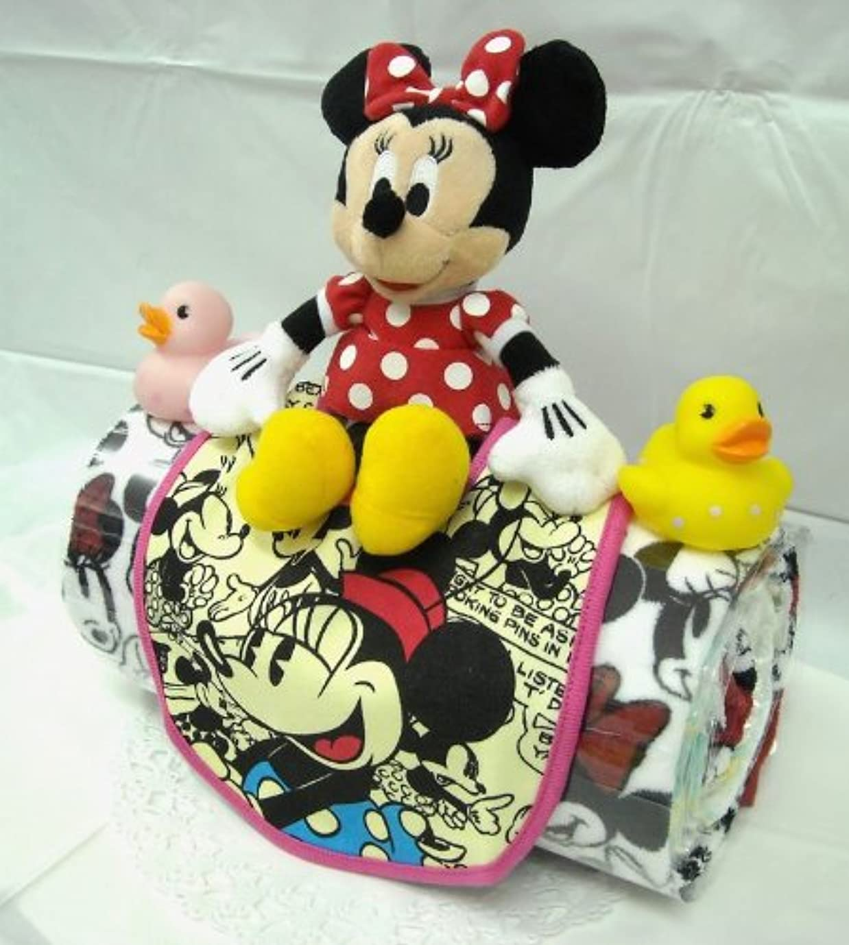 バルブ空白暗記するご出産お祝い<おむつケーキ> 人気のロールケーキ風のかわいいおむつケーキ ディズニーF (女の子用ミニ―)パンパースS