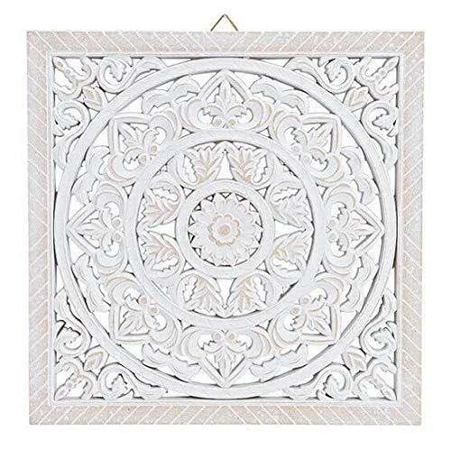 Meinposten. Wandornament Holz weiß 40 x 40 cm Shabby Landhaus Ornament Holzornament Holzbild Wandbild