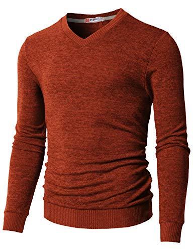 H2H Mens Casual Slim Fit Knitted V-Neck Sweater Orange US 2XL/Asia 3XL (CMOSWL018)