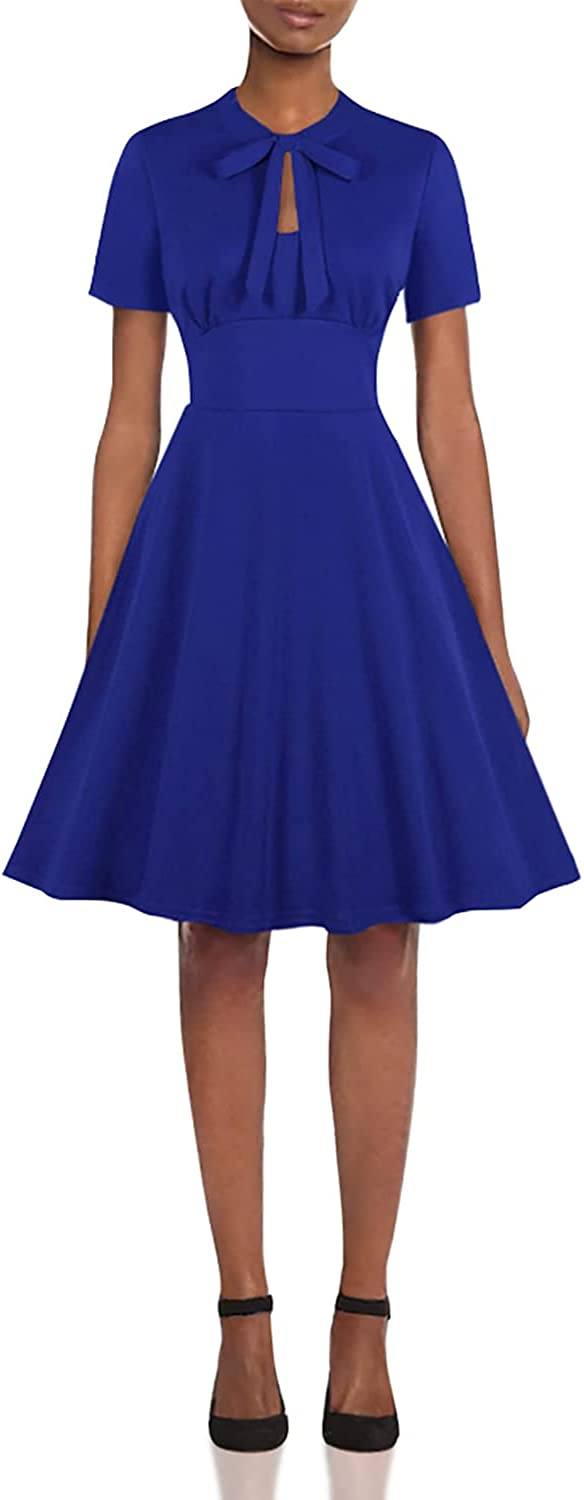 Pin Up Girl Costumes | Pin Up Costumes Wellwits Womens Keyhole Bowtie Collared 1940s Vintage Dress £19.98 AT vintagedancer.com
