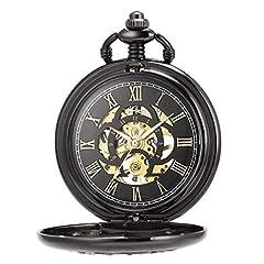 ManChDa Pocket Watch Lucky Dragon & Phoenix Vintage Mechanical Steampunk Skeleton Roman Numerals Black Fob Watch with Chain for Men Women #3