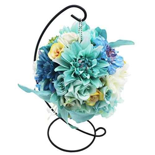Lumiphire Composizione Fiori Artificiali con Supporto Home Decorazione Ornamenti per Salotto Regali per Donna Festa della Mamma San Valentino Grazie Compleanno Anniversario Gigli Dalie Rose 28cm Blu