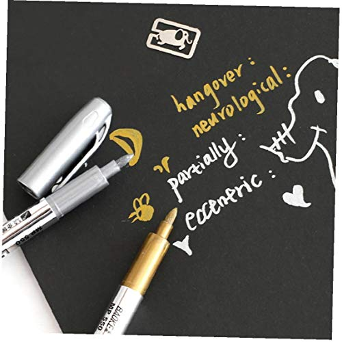 2pcs Paint Rotuladores Marcadores Permanente Paint Set Suministros De 1,5 Mm De Estudiantes Marcador Artesanía Pluma (Oro + Plata)
