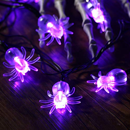70 LED Spider String Lights - 22.6ft Halloween String Lights 8 Lighting Modes, Waterproof Plug in Light for Outdoor Indoor Decor, Halloween Lighting for Garden House Halloween Party Decoration, Purple
