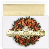 Masterpiece Studios Holiday Collection 18 Cards / 18 Foil Lined Envelopes, Christmas Wreath