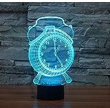 Luces de noche LED Reloj despertador 3D Lámpara de mesa de luz nocturna Lámpara de noche LED 3D Acrílico Colorido Ambiente de gradiente Lámparas táctiles para bebés Iluminación