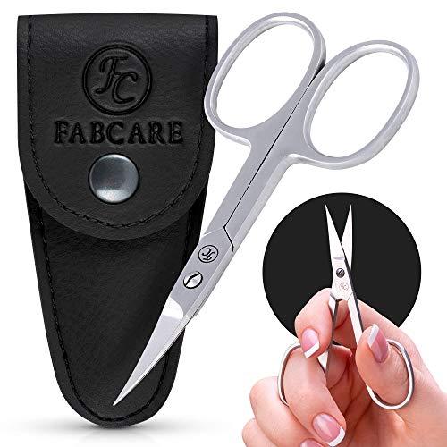 FABCARE Profi Nagelschere inkl. Etui & Ebook - Innovative Mikroverzahnung - Extra Scharfe Nagelschere mit gebogener Schneide - Für Finger- und Zehennägel - Nagelschere Linkshänder geeignet