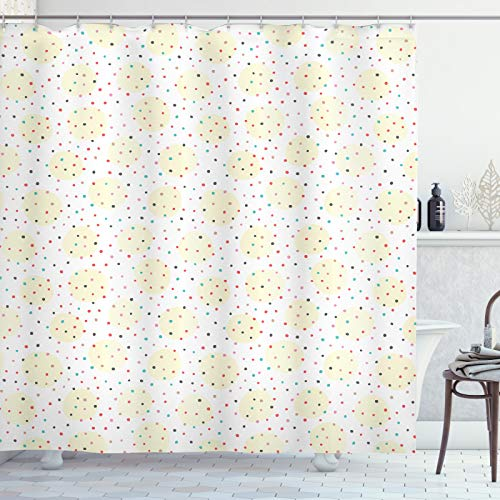 ABAKUHAUS Stip Douchegordijn, Kleurrijke Random Spots, stoffen badkamerdecoratieset met haakjes, 175 x 220 cm, Cream en Multicolor