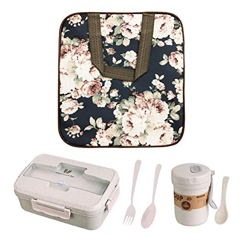 Lunch Bag Tote Bag for Women & Men -Set of 3 - Reusable Lunch Box Water-resistant Cooler Bag Insulated Lunch Container (Black with Flowers)