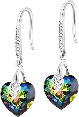 Crystals&Stones – Orecchini a forma di cuore in argento 925 – Vitrail Medium – Orecchini con cristalli Swarovski® – bellissimi orecchini da donna – meravigliosi orecchini con scatola regalo
