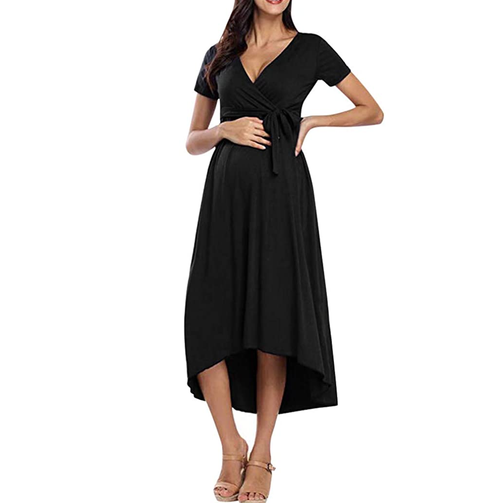 ? Hypothesis_X ? Women's Wrap Dress with Belt V-Neck Short Sleeve Lrregularity Bandage Solid Dress epsjefxp1694188
