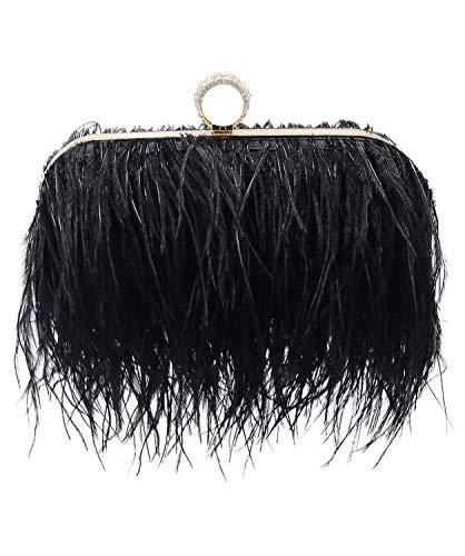 Miuco Women Feather Clutch Purse Shoulder Crossbody Bag Evening Handbags Black