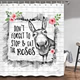 Duschvorhang mit Esel-Motiv, lustiger Esel mit lustigen Wörtern, Aquarell-Rosen-Bauernhof-Tier auf rustikalem Holz, Badezimmer-Duschvorhang-Sets, Stoff-Duschvorhang-Haken, 177,8 cm