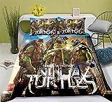 WMZ-SC Teenage Mutant Ninja Turtles Leo - Juego de funda nórdica y funda de almohada de 80 x 80 cm (7,200 x 200 cm + 50 x 75 cm x 2)