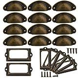 Anyasen Maniglie Cassetti 32 sets Maniglia a conchiglia Pomelli Vintage Shell Porta Cassetto Armadietto Manopole Mobili Maniglia Armadio Manopola Porta Etichette Metallo Telaio con viti, per cassetti