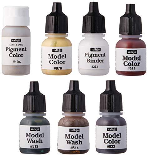 Vallejo 078406 Farbset, Alterungsset für grüne Fahrzeuge, 7x8 ml