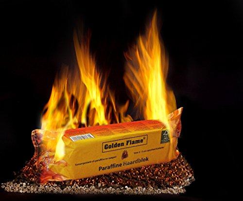 ORA-TEC Golden Flame Kaminfeuer Dauerbrenner für 2-3 Stunden Kaminfeuerscheit, Brennstoff für Kamin, Holz- und Kachelofen