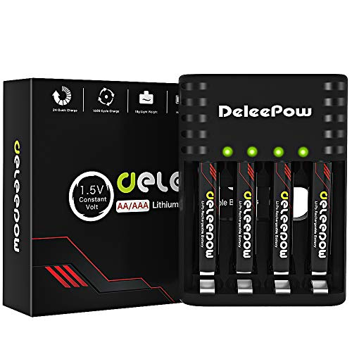 Deleepow Rechargeable AAA Batteries Lithium 1.5V 1200mWh,1500 Cycles Lithium AAA Batteries Rechargeable with 2H USB Fast Charger