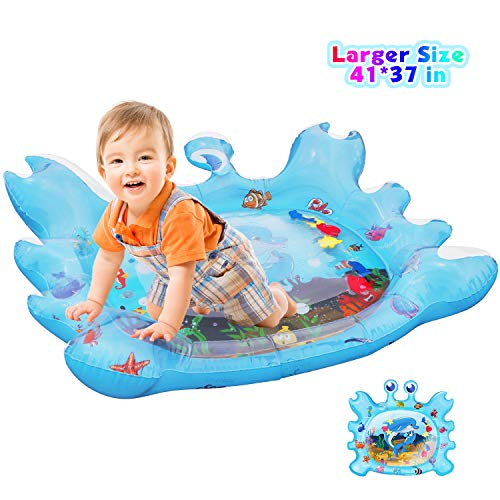 EPN Tummy Time Baby Water Play Mat Toys for 3 6 9 Months Newborn Infant&Toddlers, Inflatable Sensory Toys Gifts for Boy Girl|BPA Free Infant Early Development Activity Center Crab Shape