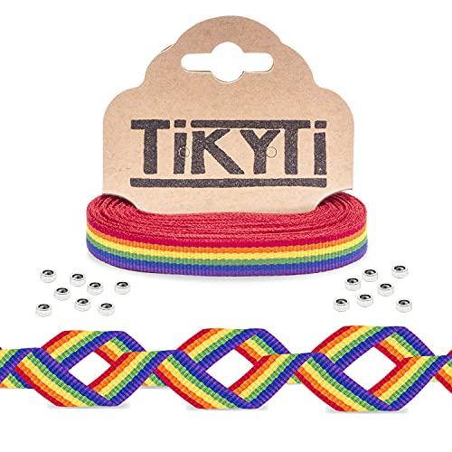 Cinta 5 metros bandera LGTBI – para pulseras, manualidades, decoración - incluye 15 cuentas cierre - tela decorativa arcoiris 5Mx1CM