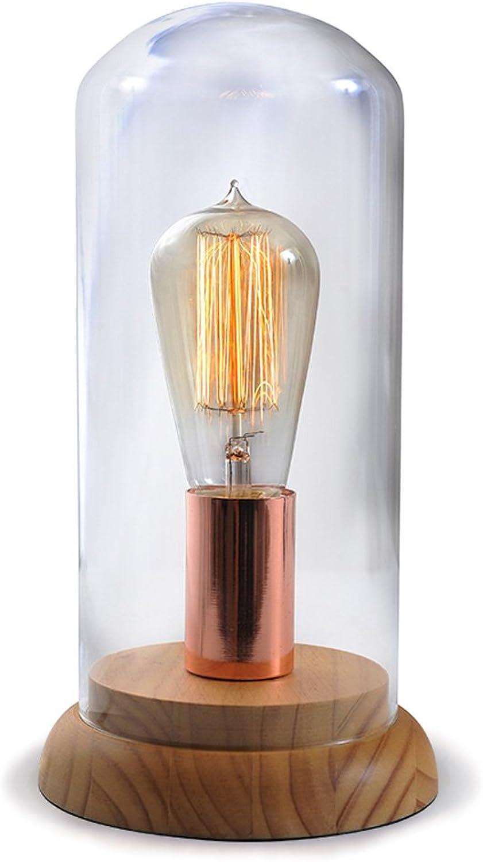 Ganeep Glass Einfache Tischleuchte Schlafzimmer Nachttisch Schreibtischlampe Holzfu Edison Glühbirne Einfach zu ndern E27 Lampe Cap Mode Wohnzimmer Studie Tischlampe Innendekoration Leuchte