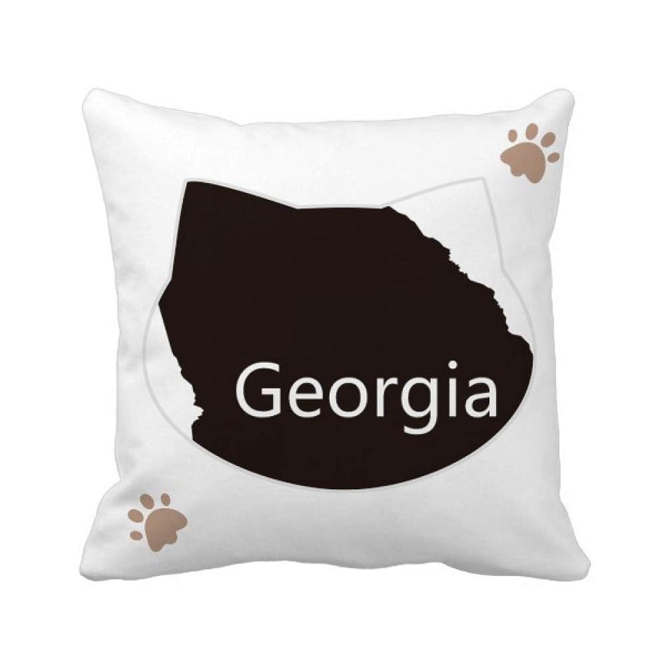 噴火クランプ見分けるジョージアアメリカ 米国のマップのシルエット 枕カバーを放り投げる猫広場 50cm x 50cm