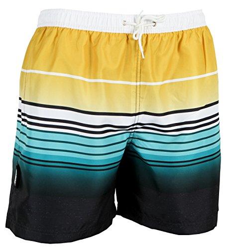 Luvanni Badehose für Herren Schnelltrocknende Badeshorts 580 mit Kordelzug Beachshorts Boardshorts Schwimmhose Männer gestreift Streifen Streifenmuster Farbe Bunt L