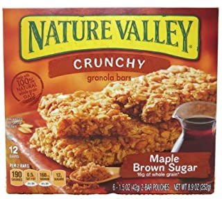 Nature Valley Crunchy Granola Bars, Maple Brown Sugar, 12-count Boxes (Pack of 2)