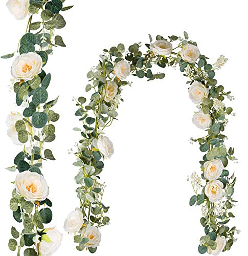 ROMAY 2 Pack 12FT Artificial Eucalyptus Garland with Champagne Roses Flower Vine Eucalyptus Greenery Garland for Weddings and Parties