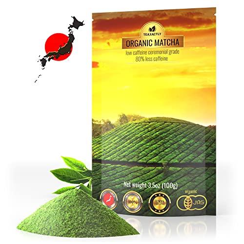 Matcha Green Tea Powder – Organic Premium Decaf Ceremonial Grade – Low Caffeine Sugar Free – USDA Certified Authentic Japanese Origin – Ideal for Latte Smoothie and Baking – Value Size 3.5oz 100g